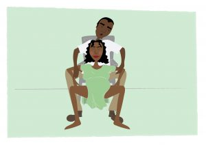 Image of Woman being supported by her birth partner in a squatting position - copyright New Life Classes