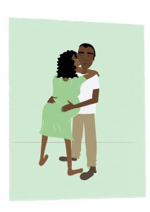Image of Woman being supported by her birth partner in labour - copyright New Life Classes